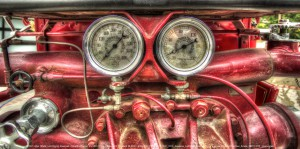 The water tank on a 1923 American Lafrance firetruck