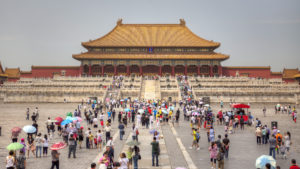 big crowds at the Forbidden City in Beijing, China